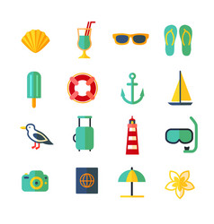 cartoon color summer holiday icon set vector image