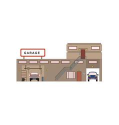 Cartoon garage exterior in flat style front view vector