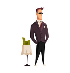 cartoon rich people image a styled man vector image