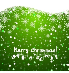 Christmas green background with snowflakes vector image