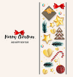 christmas greeting postcard ornament vector image