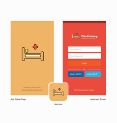 Company hospital bed splash screen and login page vector