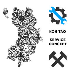 Composition koh tao thai island map of service vector