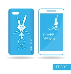 Cover mobile smartphone dancing rabbit skeleton vector