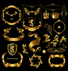 creation set with vintage golden elements vector image