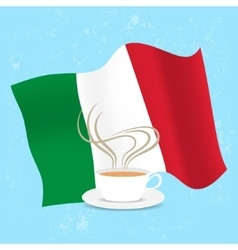 Cup of coffee and flag Italy vector image