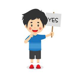 Cute kid boy carry correct sign vector