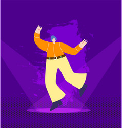 dancing man in cowboy outfit on nightclub stage vector image