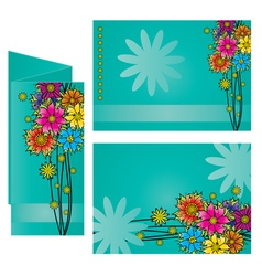 dark blue background colorful flowers leaflet vector image
