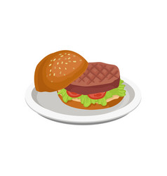delicious burger with grilled meat vector image