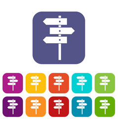 Direction signs icons set vector