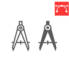 Divider line and glyph icon compass and architect vector