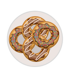 donuts with chocolate glaze on dish top view in vector image
