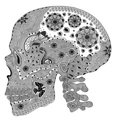 Entangle stylized black human skull hand drawn vector