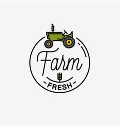 farm fresh logo round linear logo tractor vector image