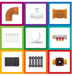 flat icon sanitary set of flange pipe pipework vector image