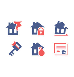 flat set of home insurance service icons vector image