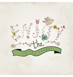 Floral elements of vintage Prase enjoy the little vector