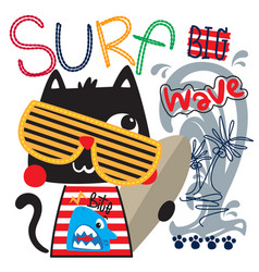 Funny cartoon cat holding surfboard with big wave vector