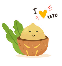 funny cute macadamia character keto diet lover vector image