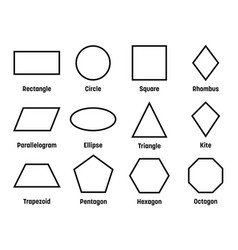 Geometric shapes with labels set 12 basic vector
