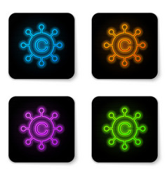 glowing neon copywriting network icon isolated on vector image