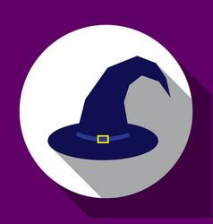 halloween dark blue witch hat flat design with vector image