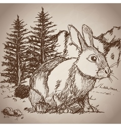 Hand drawing rabbit landscape vintage vector