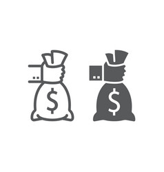 hand holding money line and glyph icon finance vector image