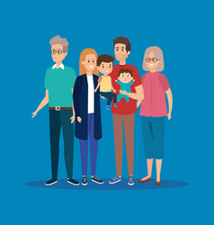Happy family together with grandparents and kids vector
