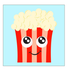 happy popcorn on white background vector image