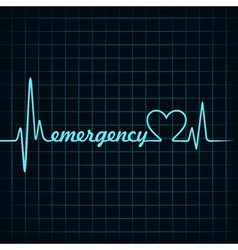 heartbeat make a emergency text and heart symbol vector image
