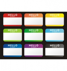 Hello name tags vector