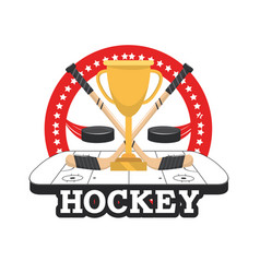Hockey puck with sticks and cup in the rink vector