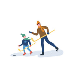 Hockey training father with son playing in winter vector