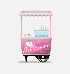 Ice cream cart kiosk on wheels retailers dairy vector