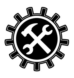 icon logo repair restoration gear mechanism vector image