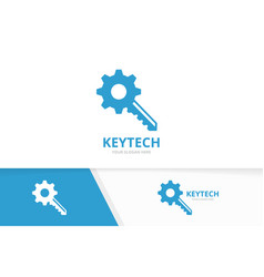 key and gear logo combination lock and vector image
