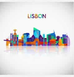 Lisbon skyline silhouette in colorful polygonal vector