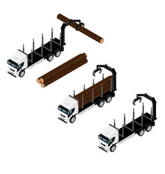 logging truck isometric view isolated on white vector image