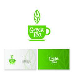 Logo green tea leaf business card identity vector