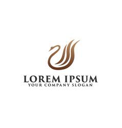 luxury swan logo design concept template vector image