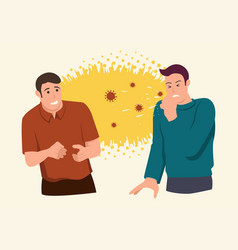 Man afraid his friend sneezing in front him vector