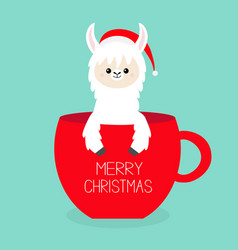 Merry christmas alpaca llama sitting in coffee vector