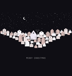 merry christmas card winter town on xmas eve vector image