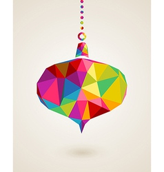 Merry Christmas colors triangle hanging bauble vector image