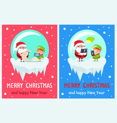merry christmas job of santa vector image
