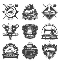 Monochrome tailor labels collection vector