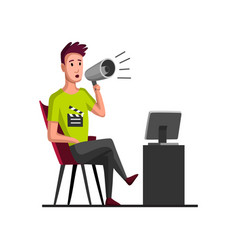 Movie making concept with director flat cartoon vector