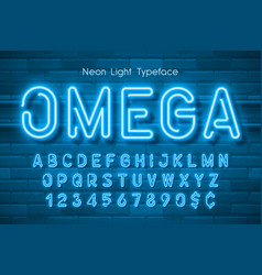 neon light 3d alphabet extra glowing font vector image